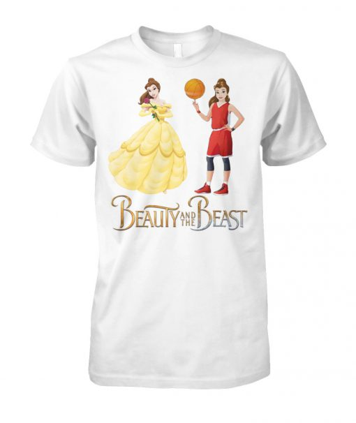 Beauty and the beast belle and basketball girl unisex cotton tee