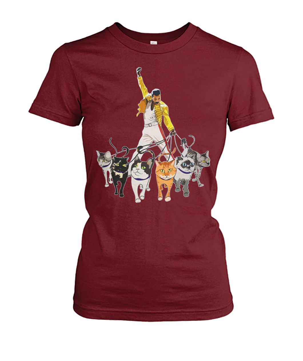 Freddie mercury and cats women's crew tee