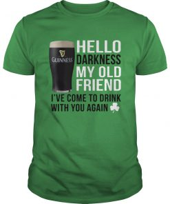 Guinness beer hello darkness my old friend st patrick's day guy shirt