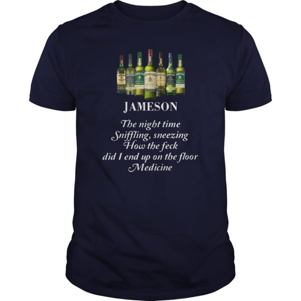 Jameson the night time sniffling sneezing how the feck did I end up on the floor guy shirt