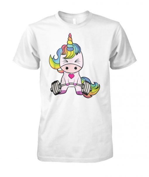 Unicorn gym unicorn weightlifting unisex cotton tee