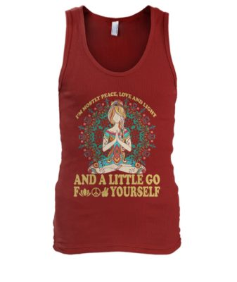 Yoga tattoo I'm mostly peace love and light men's tank top