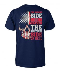 American flag skull the wrong side of heaven the righteous side of hell unisex cotton tee