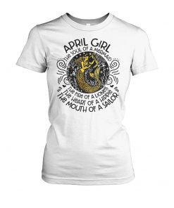 April girl the soul of a mermaid the fire of a lioness women's crew tee