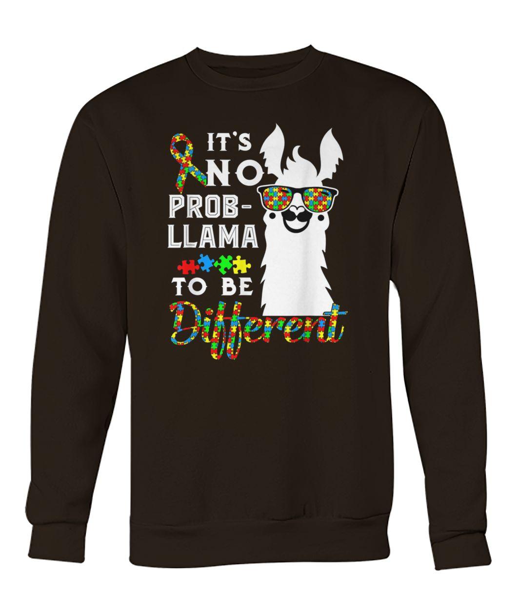 Autism awareness it's no prob-llama to be different crew neck sweatshirt