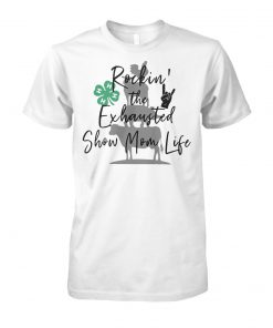 Barbecue with cow pig and chicken rockin' the exhausted show mom life unisex cotton tee