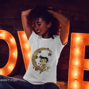 Betty boop on the crescent moon shirt