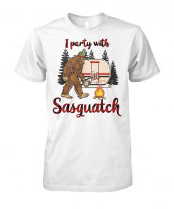 Bigfoot camping I party with sasquatch unisex cotton tee