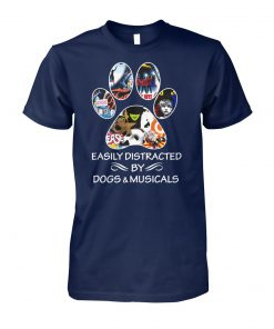 Broadway easily distracted by dogs and musicals unisex cotton tee