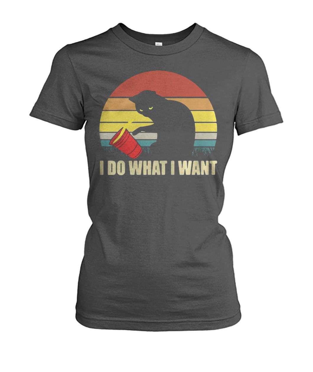 Captain marvel goose cat I do what I want vintage women's crew tee