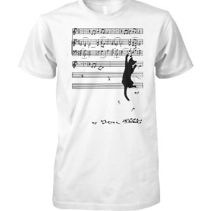 Cat mischief music staff unisex cotton tee