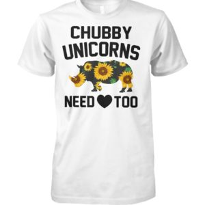 Chubby unicorns need love sunflower unisex cotton tee