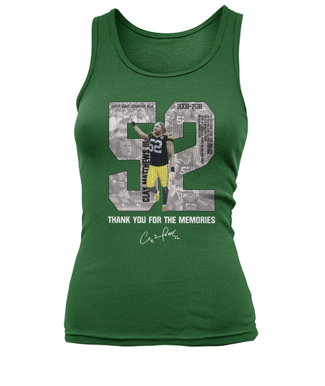 Clay matthews 52 thank you for the memories women's tank top