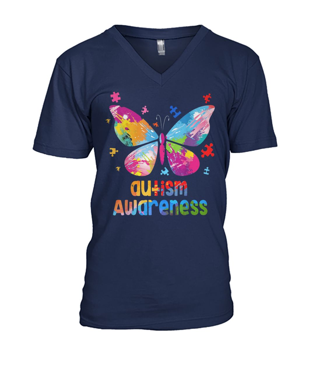 Colorful butterfly autism awareness mens v-neck