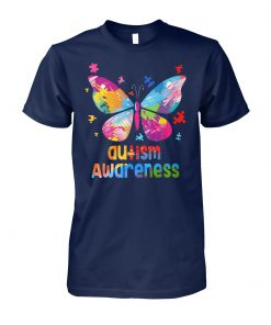 Colorful butterfly autism awareness unisex cotton tee