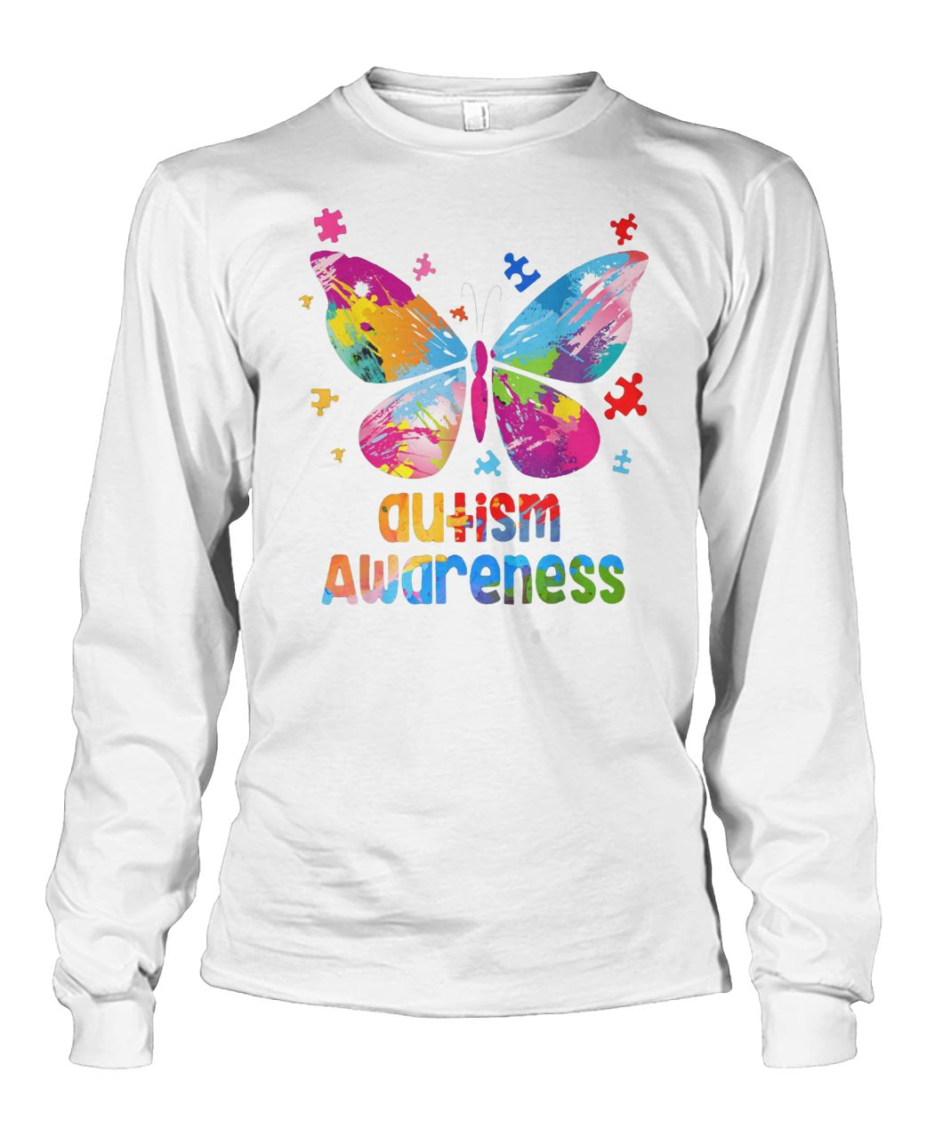 Colorful butterfly autism awareness unisex long sleeve