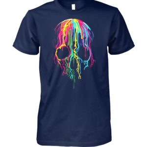 Colorful melting skull art graphic halloween unisex cotton tee