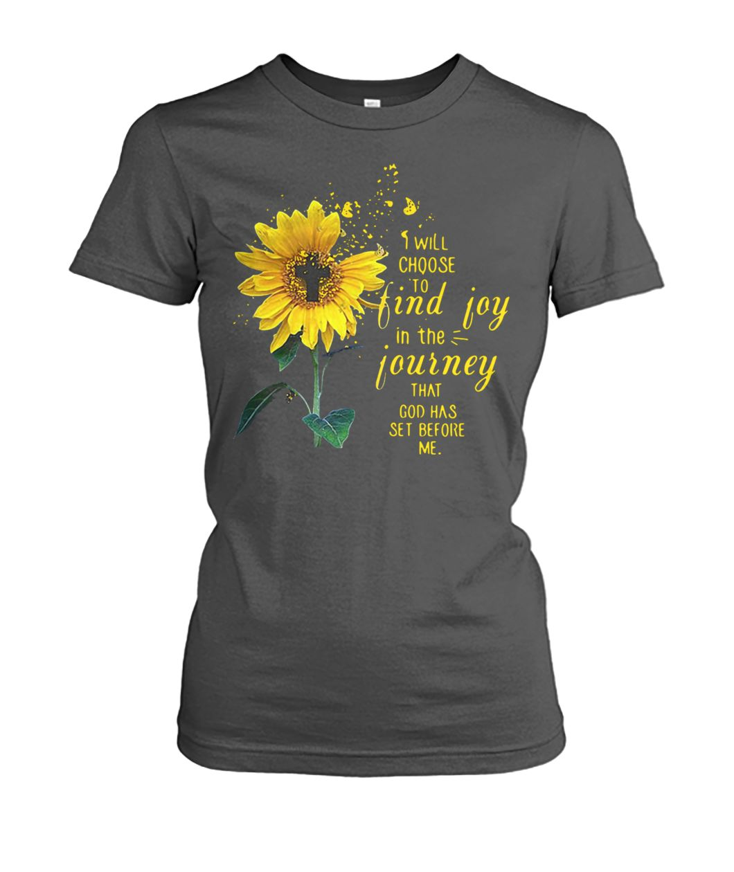Cross sunflower I will choose to find joy in the journey that God has set before me women's crew tee