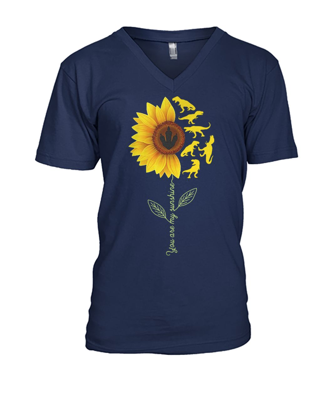 Dinosaurs sunflower you are my sunshine mens v-neck