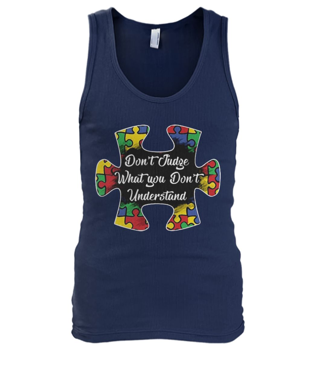 Don't judge what you don't understand autism awareness mouse men's tank top