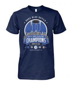 Duke blue devils 2019 acc men's basketball champions march 16 2019 unisex cotton tee