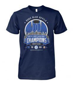Duke blue devils 2019 acc men's basketball champions march 16 2019 unisex cotton tee