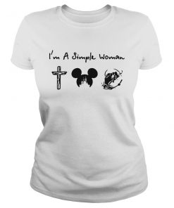 I'm a simple woman I like cross mickey disney and fishing lady shirt