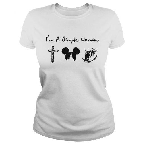I'm a simple woman I like cross mickey disney and fishing lady shirt