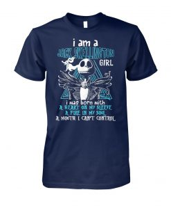 I am a jack skellington girl I was born with a heart on my sleeve unisex cotton tee