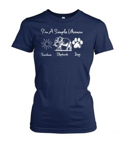 I'm a simple woman I love sunshine elephants and dogs women's crew tee