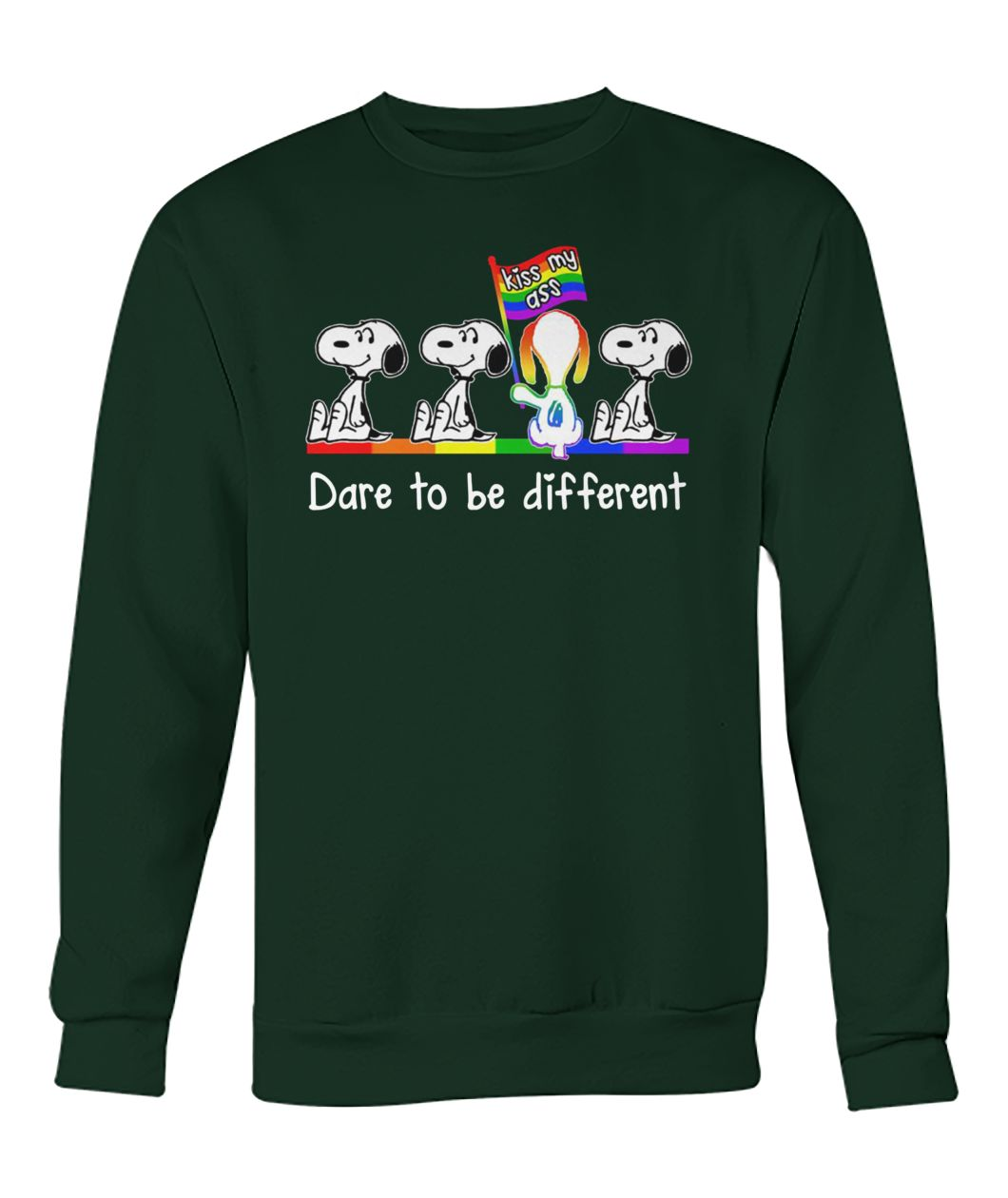 LGBT snoopy kiss my ass dare to be different crew neck sweatshirt