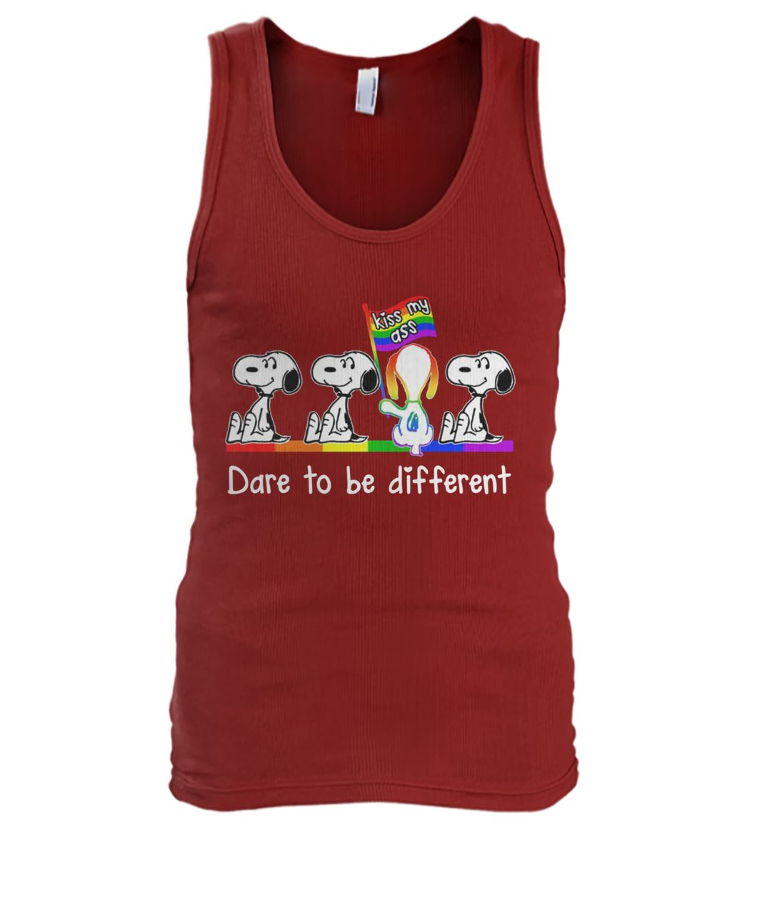 LGBT snoopy kiss my ass dare to be different men's tank top