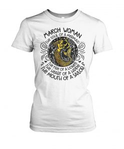 March girl the soul of a mermaid the fire of a lioness women's crew tee