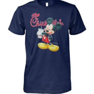 Mickey mouse drinking chick fil-a unisex cotton tee