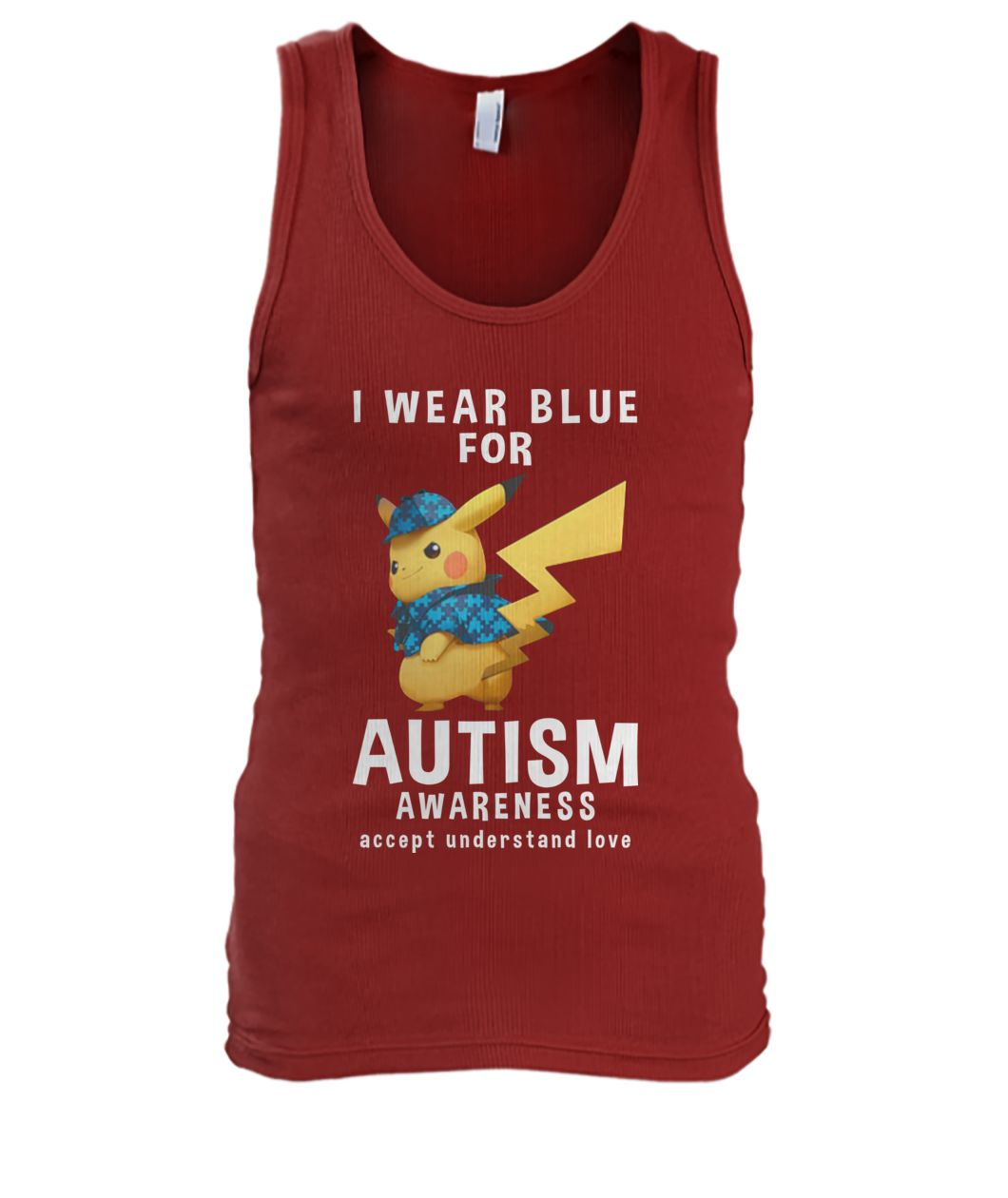 Pikachu I wear blue for autism awareness men's tank top