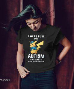 Pikachu I wear blue for autism awareness shirt