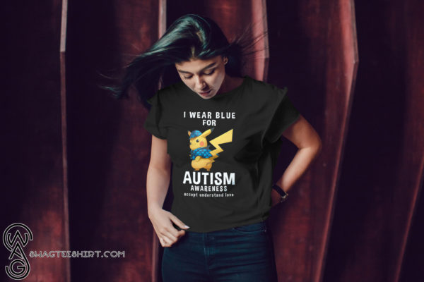 Pikachu I wear blue for autism awareness shirt