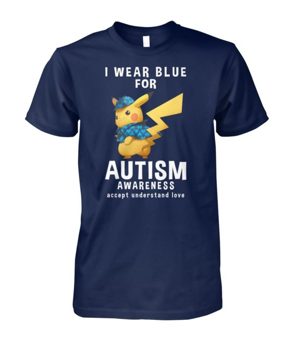 Pikachu I wear blue for autism awareness unisex cotton tee