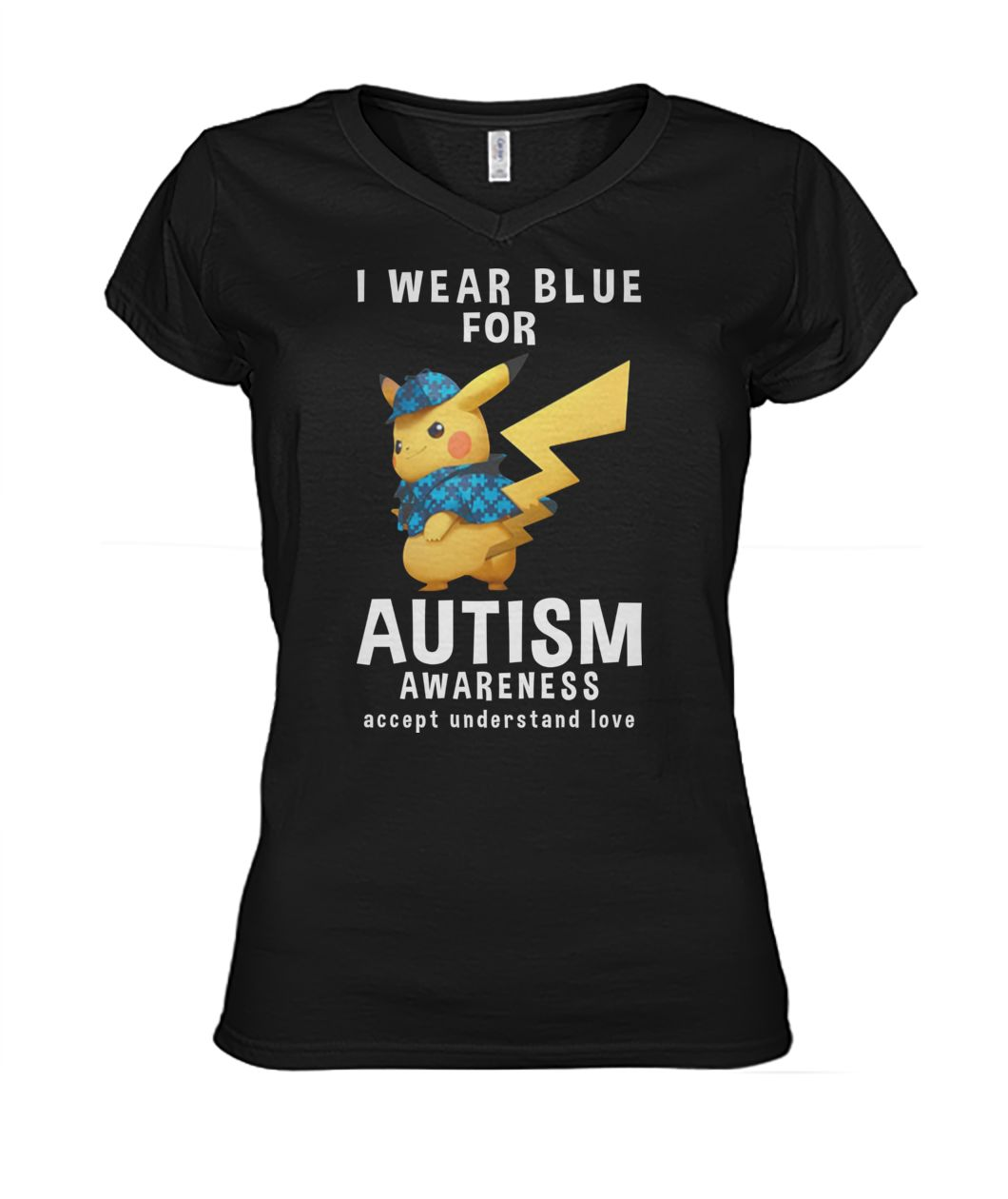 Pikachu I wear blue for autism awareness women's v-neck