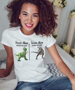 Rex dinosaur soccer mom before the game during the game shirt