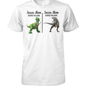 Rex dinosaur soccer mom before the game during the game unisex cotton tee