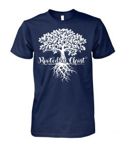 Rooted in christ christian faith and love in God unisex cotton tee
