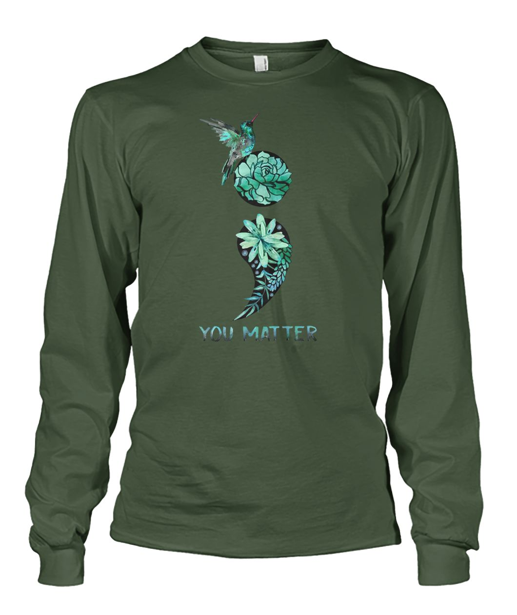 Semicolon hummingbird suicide prevention awareness unisex long sleeve