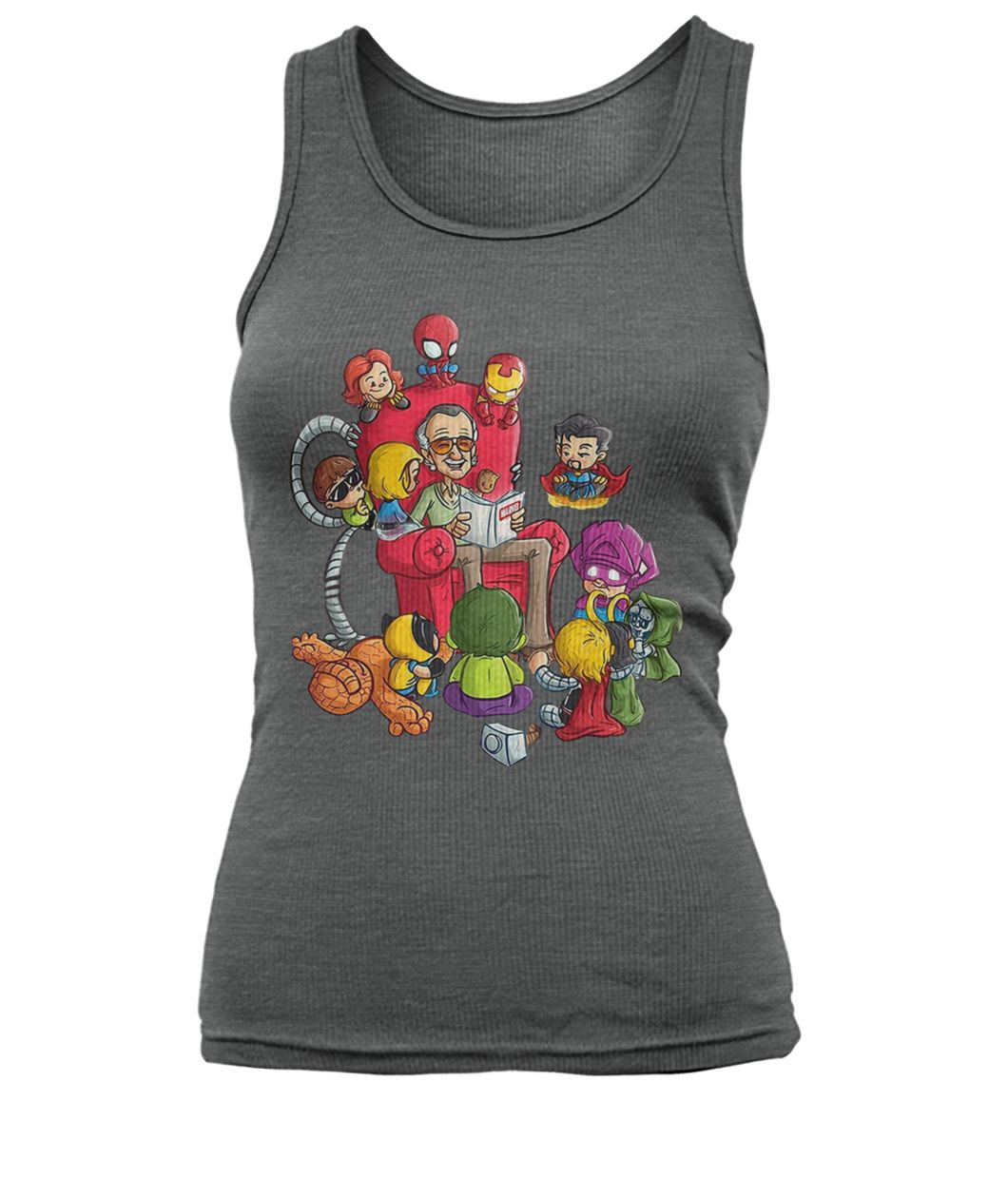 Stan lee reading book comic to avengers hero women's tank top