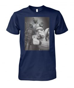 Star wars darth vader and stormtroopers selfie in han solo frozen carbonite unisex cotton tee