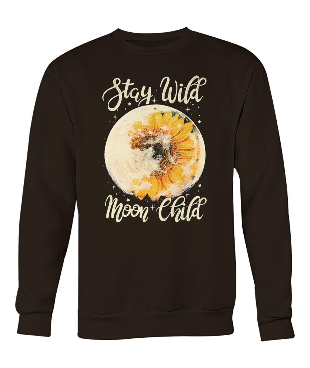 Stay wild moon child hippie sunflower crew neck sweatshirt