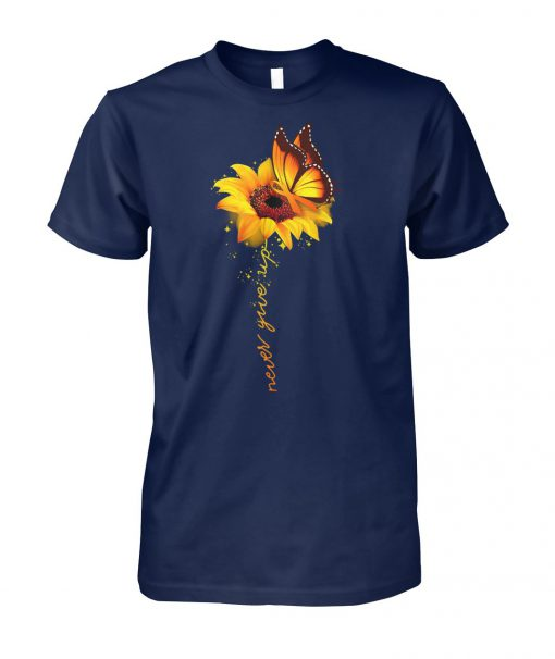 Sunflower butterfly never give up raise multiple sclerosis awareness unisex cotton tee