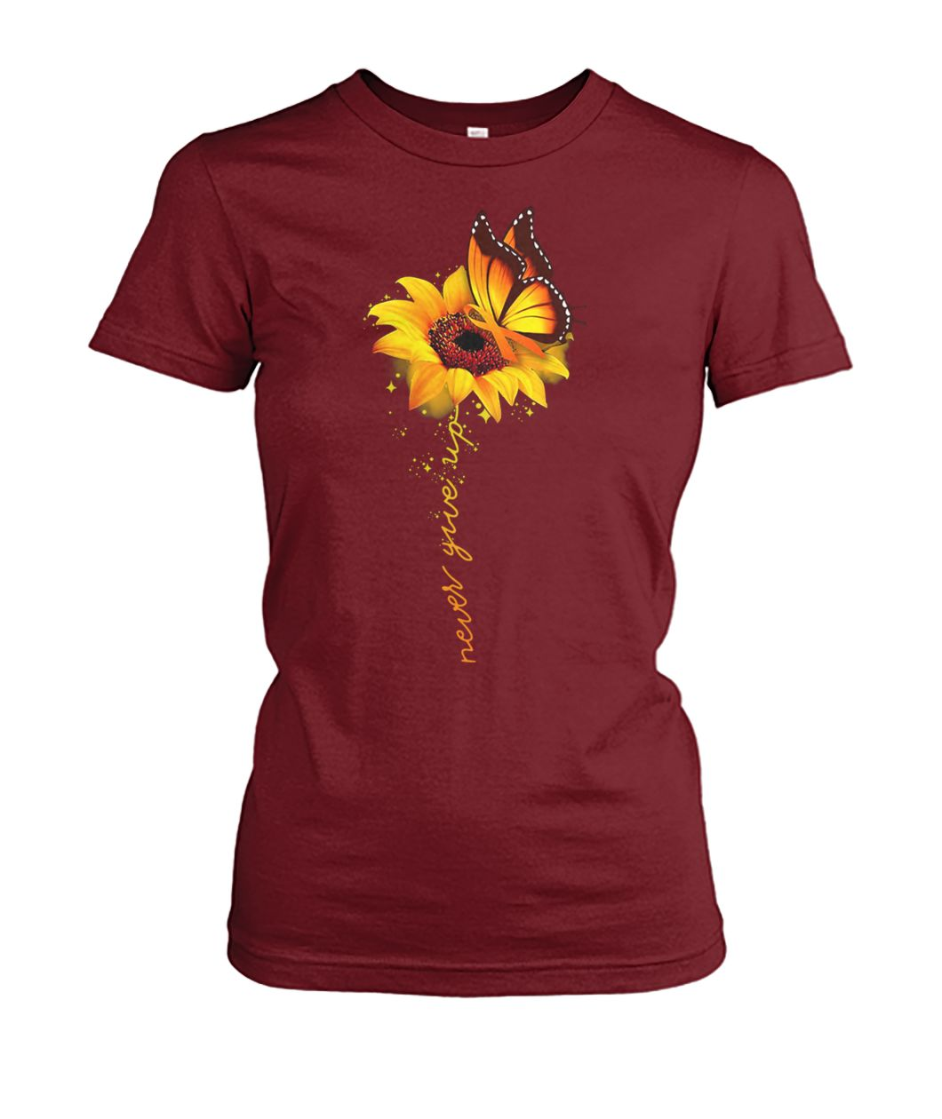 Sunflower butterfly never give up raise multiple sclerosis awareness women's crew tee