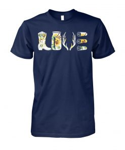 Sunflower love hunting equipment boots bottle gun unisex cotton tee
