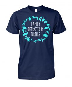 Turtle lovers easily distracted by turtles unisex cotton tee